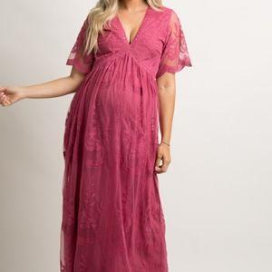 Pinkblush Magenta Lace Mesh Overlay Maxi Dres…